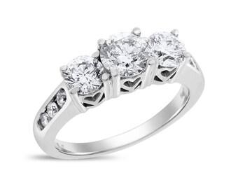 1.76 Ct. Natural Diamond Three Stone Love Forever Engagement Ring 14k White Gold