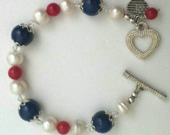 Patriotic red white and blue bracelet, patriotic bracelet, silver bracelet, red white blue bracelet, Fourth of July bracelet, red white blue
