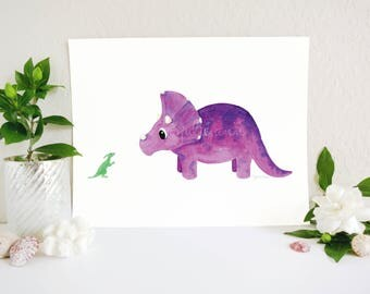 Dinosaur Nursery Art, Baby Dinosaur, Triceratops and Duck-Billed Friend Art Print, Dinosaur Art, Dinosaur Theme, Boy Room Art, Kids Wall Art