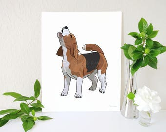 Beagle Art Print, Howling Beagle Decor, Barking Dog Art, Beagle Decor, Dog Art Print, Dog Decor, Barking Beagle Art, Bellowing Beagle