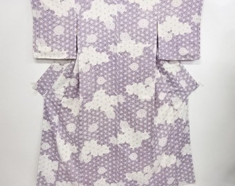 Japanese kimono vintage unused komon kimono asanoha and kiku