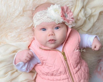 Dusty Rose and Ivory Lace Headband, Photo Prop, Newborn Headband, Baby Headband, Toddler Headband, Girls Headband