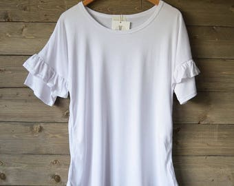 Plain white Ruffle T-shirt