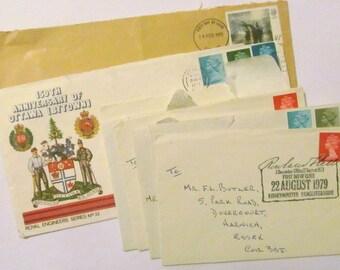 Vintage envelopes: set of 8 1970s and 1980s used envelopes with UK stamps & postmarks. Paper ephemera for journal, scrapbooks, collage OT530