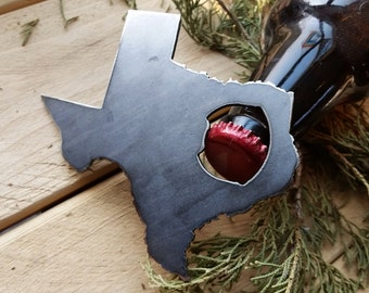 Texas State Rustic Steel Recycled Metal Industrial TX Bottle Opener, Travel Gift, wedding favor, Party gift, beer opener