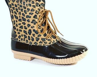 Leopard print duck boots kids sizes