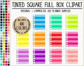 SALE 100 tinted full box planner stickers with checklist ombre clipart full box printable planner stickers Erin Condren Mambi Happy Planner