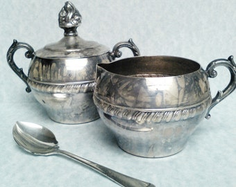 Sterling plate Sugar and Creamer set vintage sugar and Creamer set tea time coffe and tea tea drinkers coffe drinkers