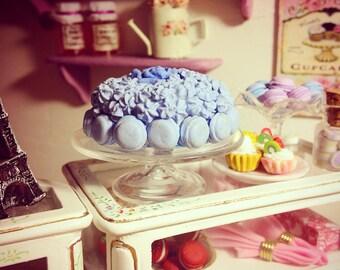 MINIATURE MACAROON CAKE, 1:12 scale, one of a kind, handmade, blue macaroon cake.