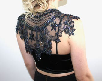 Beautiful Black Sheer Shawl with Stunning Beaded Detail
