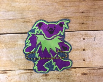Purple and Green Dancing Flow Bear ~ Hooping ~ FREE SHIPPING