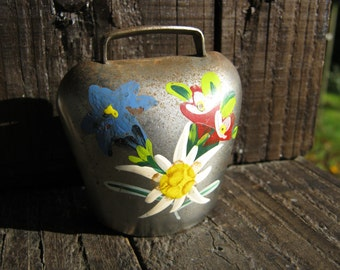 Cow Bell, Floral Cow Bell, Alpine Cow Bell, Goat Bell, French Vintage Bell