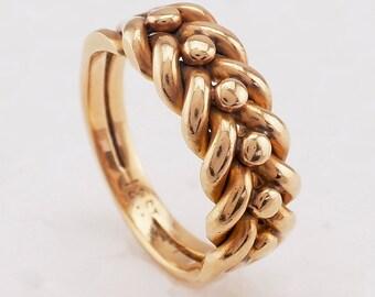 Antique Rose Gold Wedding Ring 18K 18ct band 7.25 (US) or O (UK) Victorian keeper ring