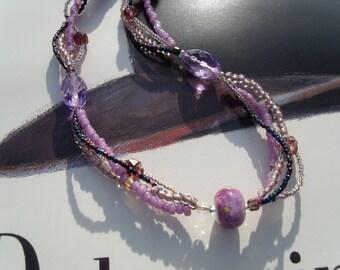 LAMPWORK Lavender NECKLACE Czech glass purple necklace summer dance