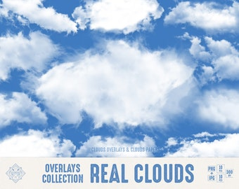 """Cloud Overlays """"Real Clouds"""" digital clouds overlays, sky overlays, photoshop overlay, clouds papers, photo overlays, clouds png, clipart"""