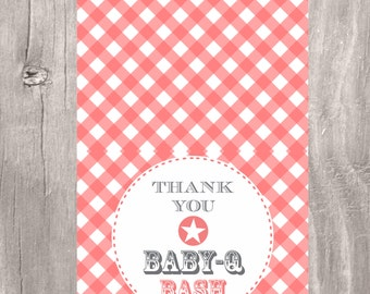 Thank You Card, Printable Baby Shower Baby-Q Bash Thank You Card, Instant Download, Thank You Card BBQ Baby Shower
