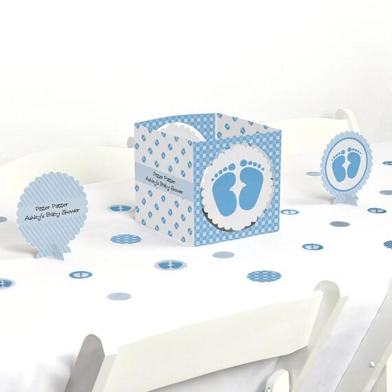 Baby feet blue centerpiece table decoration kit