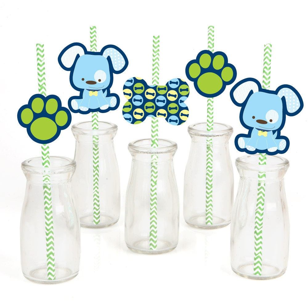 Boy puppy dog die cut straw decorations baby shower or for Baby shower decoration cutouts