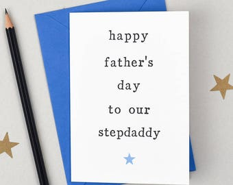 Happy Father's Day Card - Card for Stepdads - Card for Stepdaddys - Father's Day Card - Stepdad Fathers Day Card