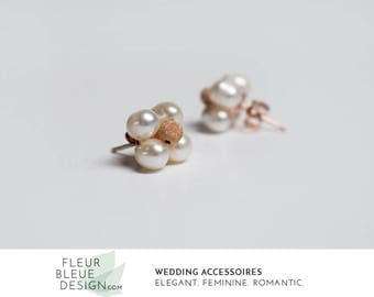 vintage earrings | ivory pearl earrings | bridal earrings | small earrings | gold-plated earrings | freshwater pearls