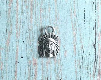 12 Tiny Indian chief charms silver toned (1-sided) - Native American charms, western charms, tribal charms, silver Indian pendants, Box 82