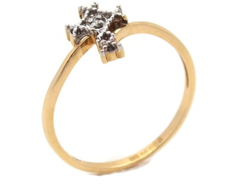 9ct Yellow Gold Diamond Cross Ring, Womens Ring, Womens Jewellery, Womens Rings, Cross Rings, Womens Cross Ring, Mother's Day, Gold Rings