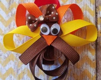 Thanksgiving Turkey Ribbon Sculpture Hair Clip