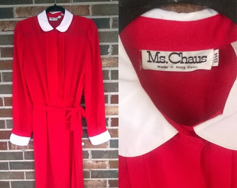 1970s Red Long Sleeve Peter Pan Collar Dress, 12/14