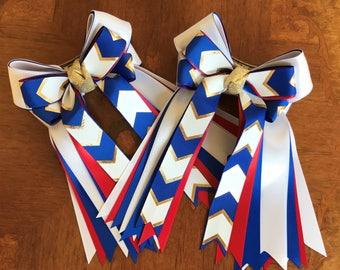Elegant Equestrian Bows/Beautiful Gift/Patriotic Chevron