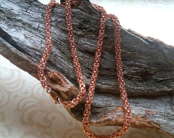 Rose Gold Chainmail Necklace - Chainmaille Jewelry - Byzantine Jewelry - Rose Gold Chain Necklace - 14k rose gold necklace - Byzantine chain