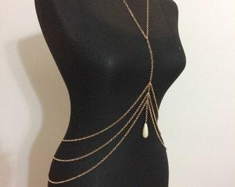 gold body chain , body necklace, pearl , body jewelry, mukoshop