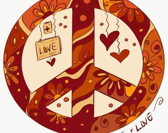 Peace & Love Notecard