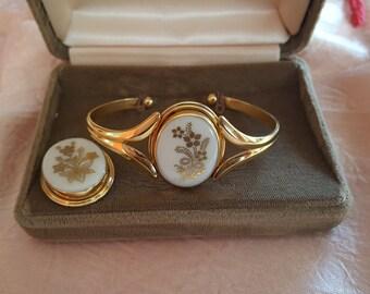 Vintage 1980's Lenox 14K Gold Filled Porcelain Flower Jewelry Set