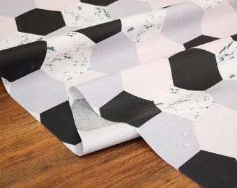 Laminated Hexagon Marble Pattern Cotton Fabric by Yard