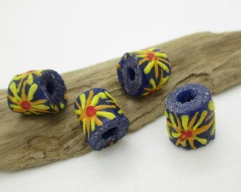 African SandCast Bead, Hand Painted Tube Bead, Tribal Glass Bead, Ethnic Daisy Bead 15x14mm (4)