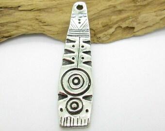 Pewter African Shield Pendant, Tribal Pendant, Ethnic Pendant 59x19mm (1)