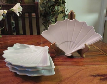 Beautiful Vinage Fan Appetizer/Sushi China Plates Set of Four
