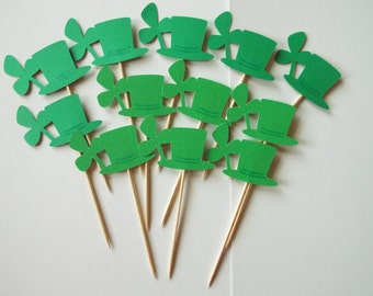 food picks, cupcake toppers, holiday picks, holiday toppers, clover food picks, st patricks toppers,
