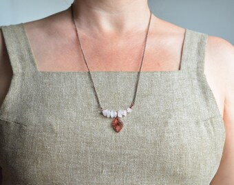 Bar Necklace - Coppery Leaf Charm with Rose Quartz Crystals
