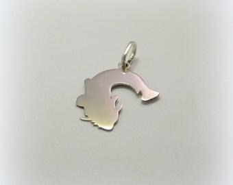 Silver Catfish pendant, Sheatfish pendant, Great cat-fish