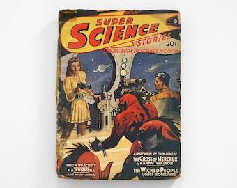 super science stories, science fiction pulp magazine, pulp magazine, science fiction magazine, science fiction pulp, vintage pulp magazine