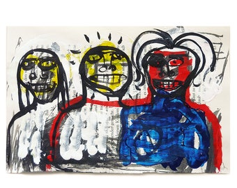 the companions, original painting on recycled pocket book page, contemporary art, art brut