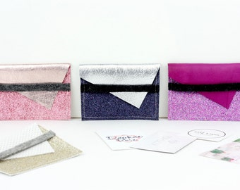 Leather/felt/glitter card wallet - oyster card holder / travel card holder / business card wallet / credit card wallet / purse
