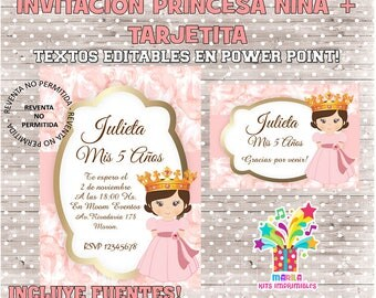 INVITATION Princess girl + thank you card - editable texts - instant download