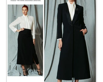 Vogue Pattern V1527 Misses Single-Button Jacket, Tie-Collar Blouse and Calf-Length Skirt