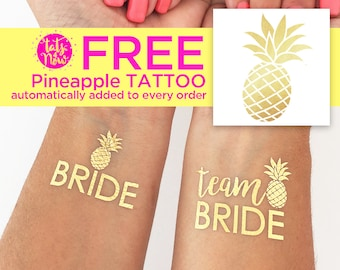 Pineapple bachelorette party, tropical beach party, pool party favor, tropical bachelorette, team bride gold tattoo, Select your quantity