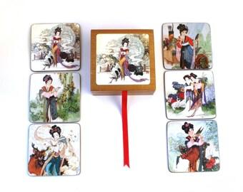 Oriental Beverage Coasters , Asian Coasters , Cork Geisha Coasters , Set Of 6 , Unique Coasters , Geisha Collectibles , Wood Box Set , Japan