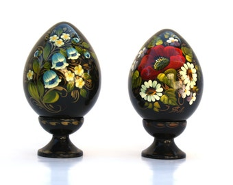Hand Painted Ukraine Signed Collector Eggs with Stand , Wooden Ukrainian Hand Painted Eggs , Black Lacquer , Folk Art Hand Painted Wood Eggs