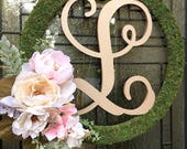 Wedding Door Monogram Wreath,Custom Moss Initial Wreath,Front Door Initial,Blush Pink and Rose Gold Wedding Decor,Rustic Wedding,Shabby Chic