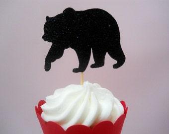 12 Black Bear Cupcake Toppers Black Bear Birthday Decor Black Bear Baby Shower Lumberjack Baby Shower Lumberjack Birthday Cupcake Toppers